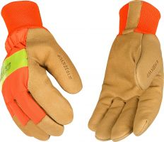Kinco Hi-Vis  Orange Lined Waterproof Pigskin Gloves