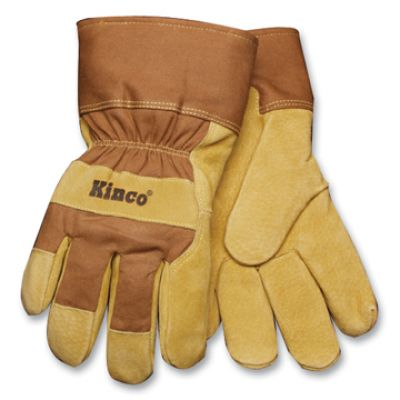Kinco Lined Suede Tan Pigskin Leather Palm Gloves - Safety Cuff