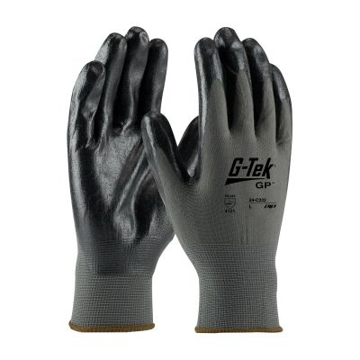 G-TEK Black & Gray Coated Nylon Gloves