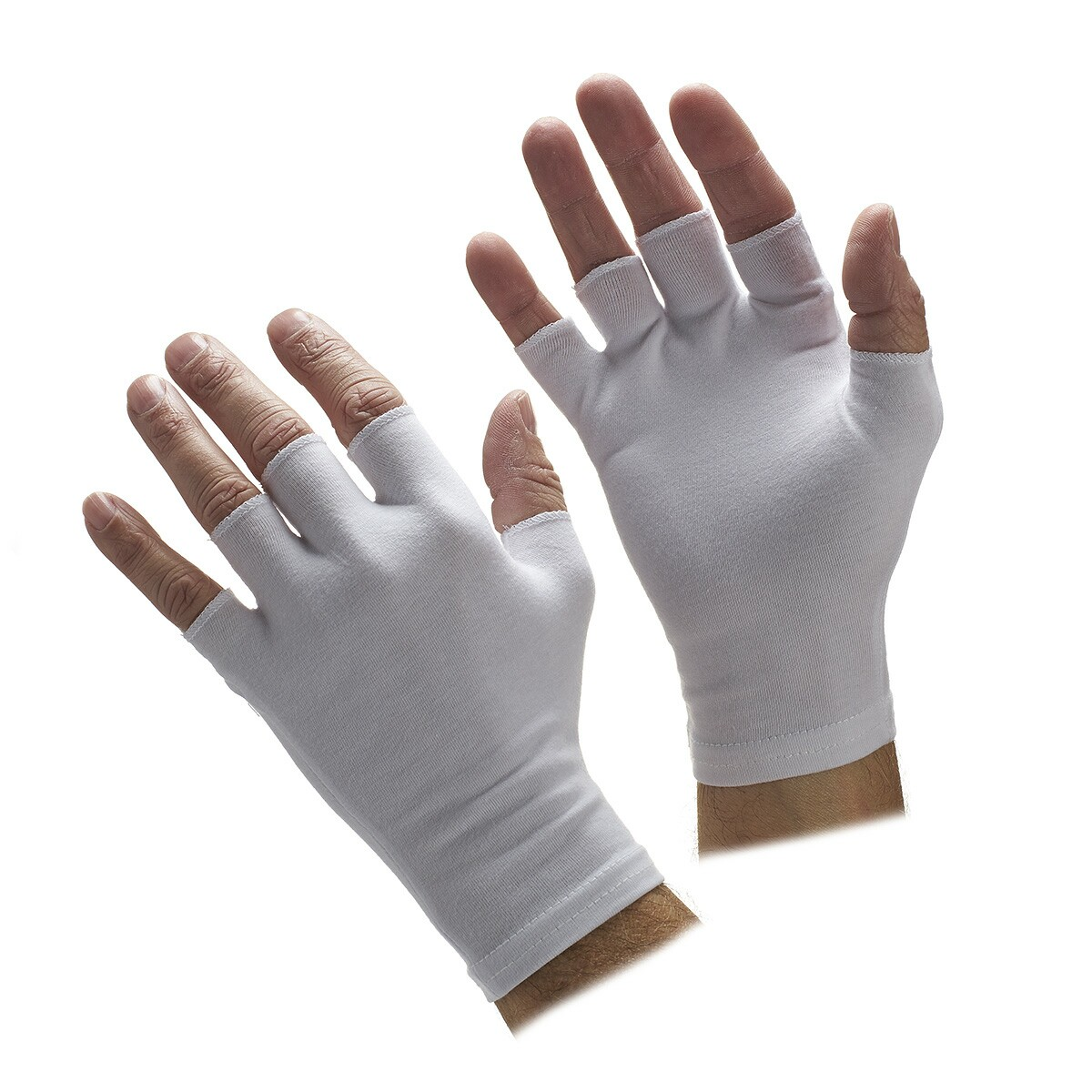 Gloves With Fingertips Out: Half-Finger White Spandex Gloves