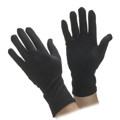Extra Long Black Cotton Parade Gloves