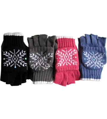 Ladies Knit Convertible Mittens Knit Gloves Gloves-Online