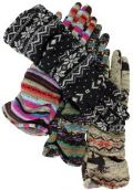 Homespun Knit Fleece Gloves for Women