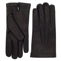 Men's Black Cashmere Lined Nappa Leather Gloves