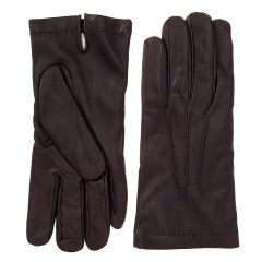 Men's Brown Cashmere Lined Nappa Leather Gloves