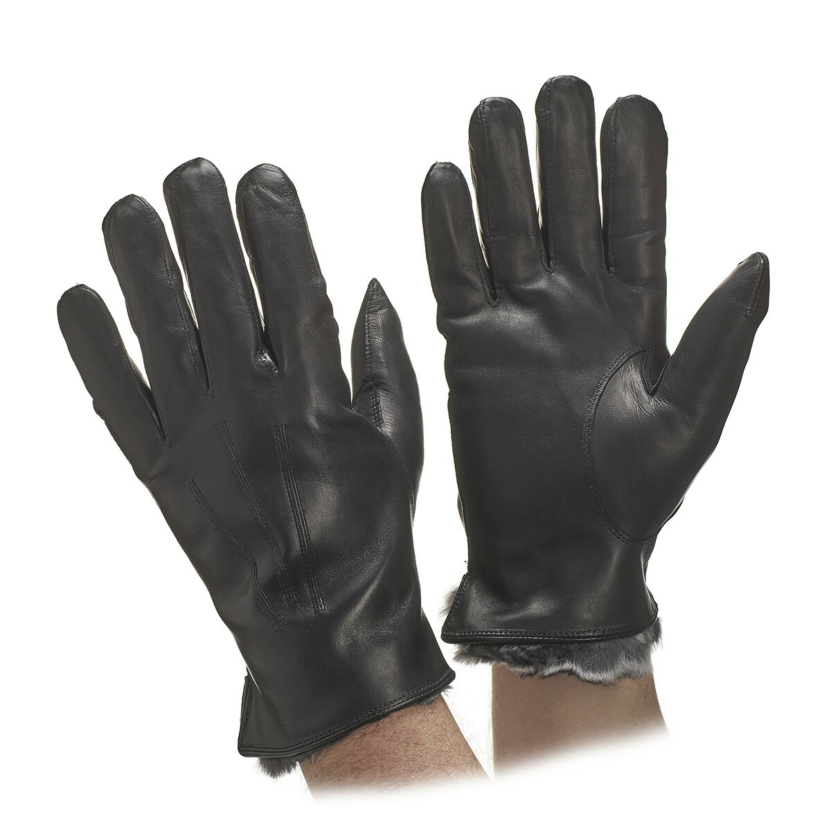 Mens leather gloves rabbit fur lined -  Fur Lined Gloves Men S Chinchilla Leather Gloves Hover To Zoom