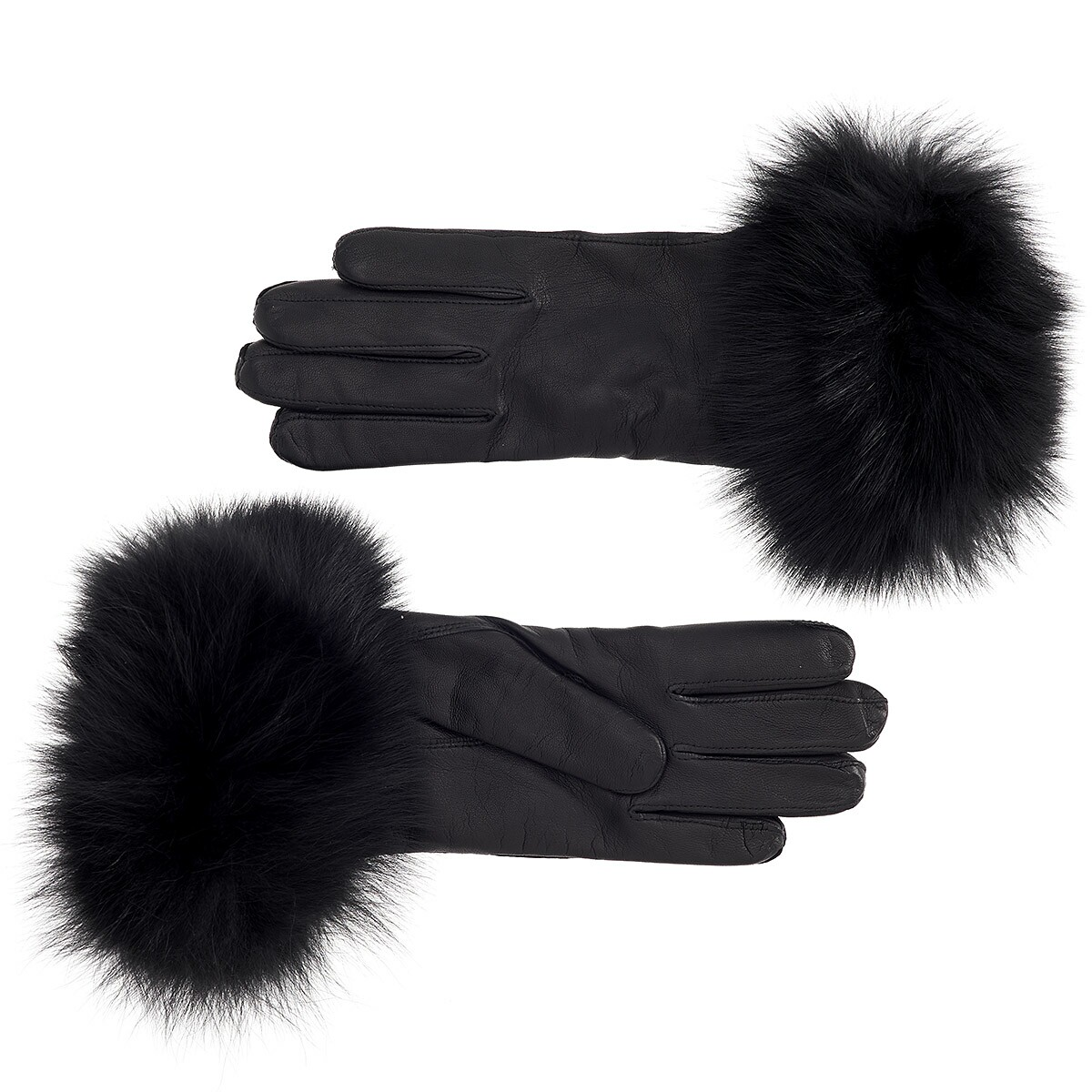Ladies leather gloves large - Women S Cashmere Lined Leather Gloves With Black Fox Cuff