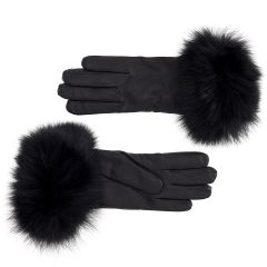 Women's Cashmere Lined Leather Gloves with Black Fox Cuff