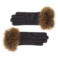 Women's Cashmere Lined Leather Gloves with Red Fox Cuff