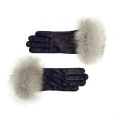 Women's Cashmere Lined Leather Gloves with White Fox Cuff