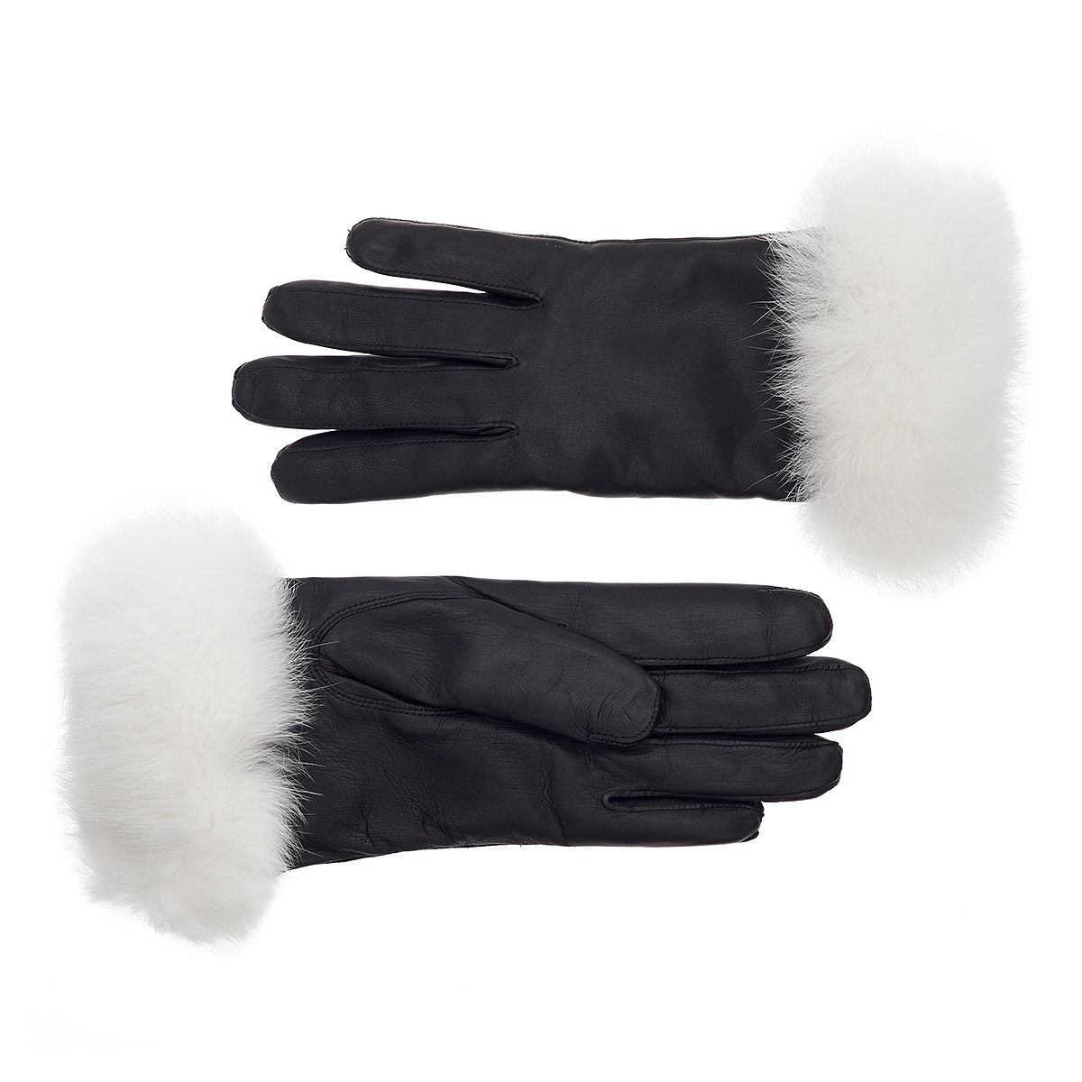 Black usher gloves - Women S Rabbit Fur Lined Leather Gloves With White Fur Cuff