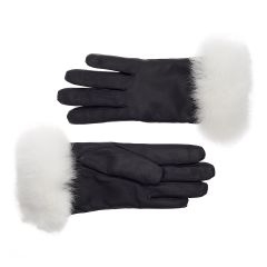 Women's Rabbit Fur Lined Leather Gloves with White Fur Cuff