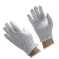 White Cotton Beaded Grip Gloves