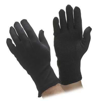 Extra Long Black Cotton Beaded Grip Gloves