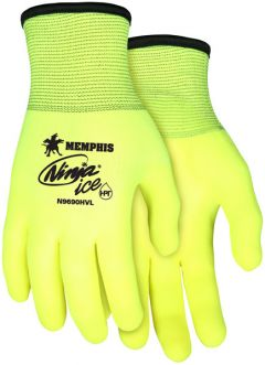 MCR Ninja ICE Coated High Visibility Lime Gloves